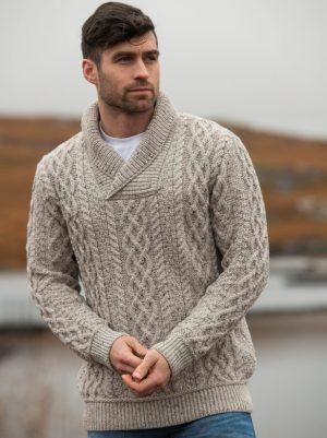 Aran Crafts Bunratty Oatmeal Collar Sweater