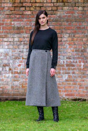 Mucros Grey Herringbone Skirt