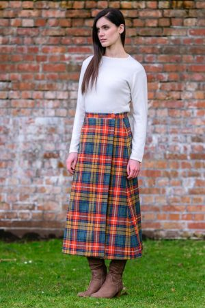 Mucros Orange Check Skirt