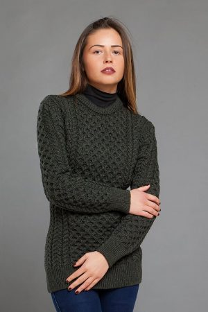 Womens Merino Army Green Aran Sweater