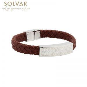 Solvar Gents Steel Brown Leather Bracelet