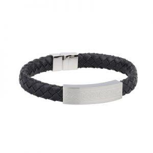Solvar Gents Steel Black Leather Bracelet