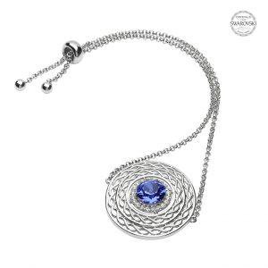 Silver Celtic Swarovski Crystal Sapphire Bracelet
