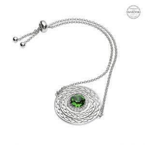 Silver Celtic Swarovski Crystal Green Bracelet