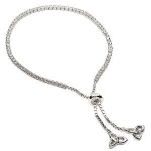 Silver Trinity Knot Stone Set Bracelet