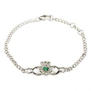 Silver Claddagh Stone Set Bracelet