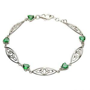 Silver Celtic Green Stone Trinity Bracelet