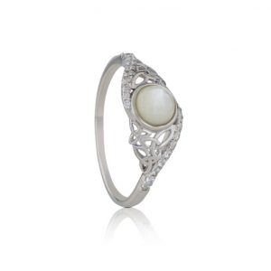 Mother of Pearl Arian Twisted Trinity Ring