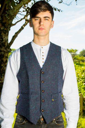Donegal Tweed Navy Waistcoat