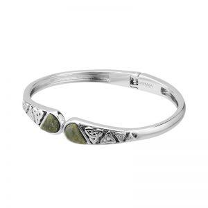 Connemara Marble Trinity Knot Hinged Bangle