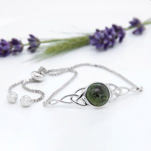 Sterling Silver Connemara Marble Trinity Knot Bracelet