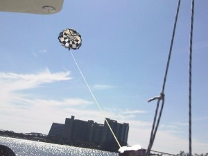 Get a great aerial view of the Magic Kingdom while parasailing.