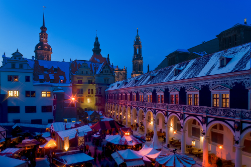 A Christkindl market in Dresden, Germany