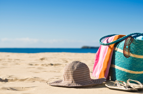 beach bag and sun hat