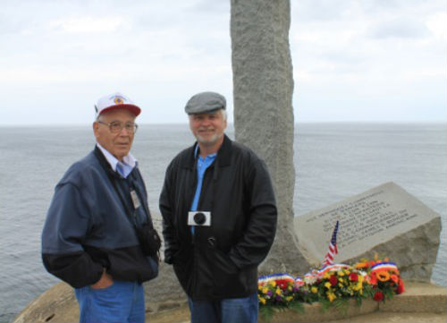 The author's husband and father-in-law in Pointe du Hoc, France