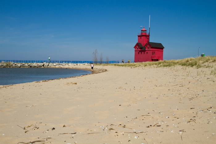 Holland Michigan red lighthouse beach.700