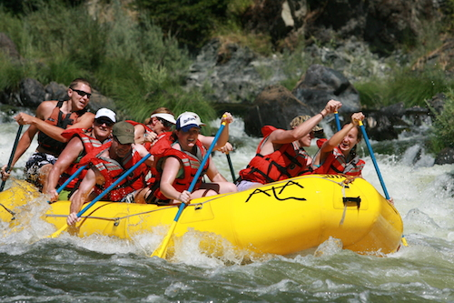 Midway through your rafting trip with Marble Mountain Guest Ranch, you can hike the Karuk tribal lands and go fora dip in the pool underneath a waterfall. Photo credit: Marble Mountain Guest Ranch.