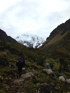 The glacier-capped Salkantay peak shadows most of the ascent on the second day of the trek. Courtesy of Ally Marotti.
