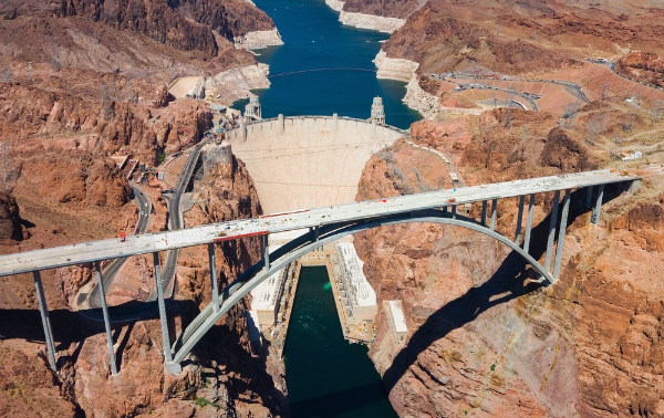 Aerial view of Hoover Dam in Nevada