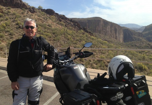 Gary McKechnie on the Apache Trail in Arizona, a stop on a trip from San Diego to New York City as part of the Cannon Ball Centennial Ride; the 100th anniversary of the nation's first trans-continental motorcycle crossing.