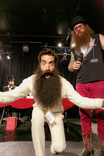 Madison Rowley after winning the first annual Rose City Beard and Mustache Competition hosted by the Portland Beardsmen.