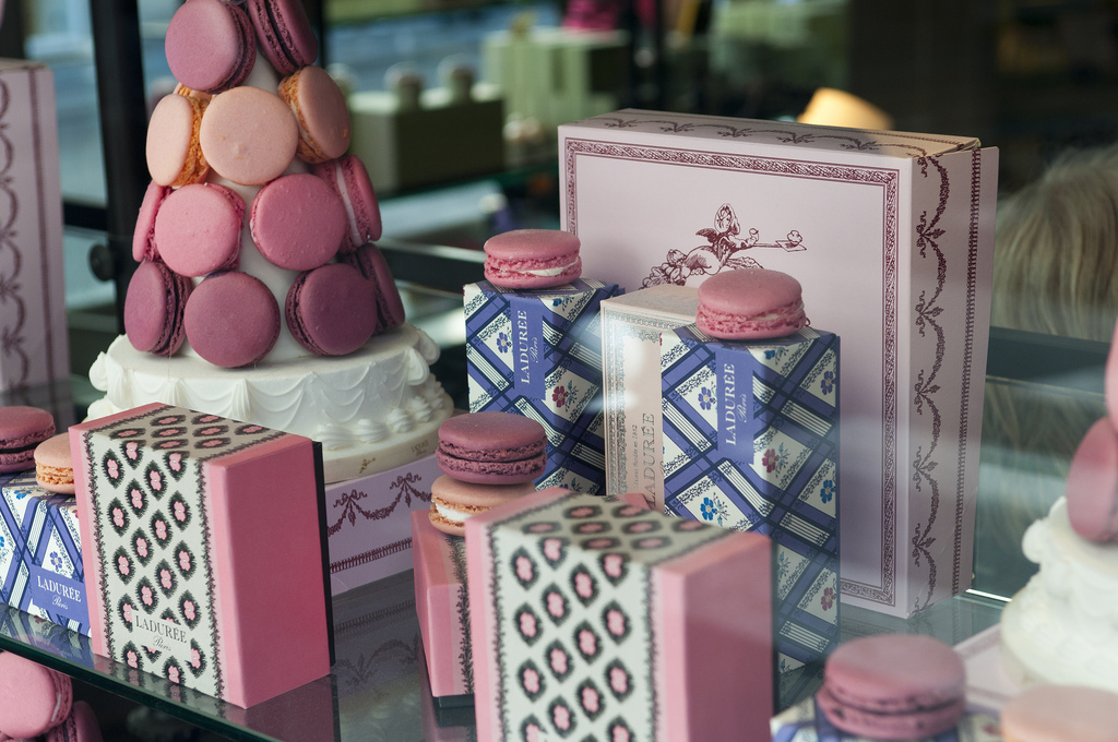 Window shop stores like Laduree and their delicious macarons