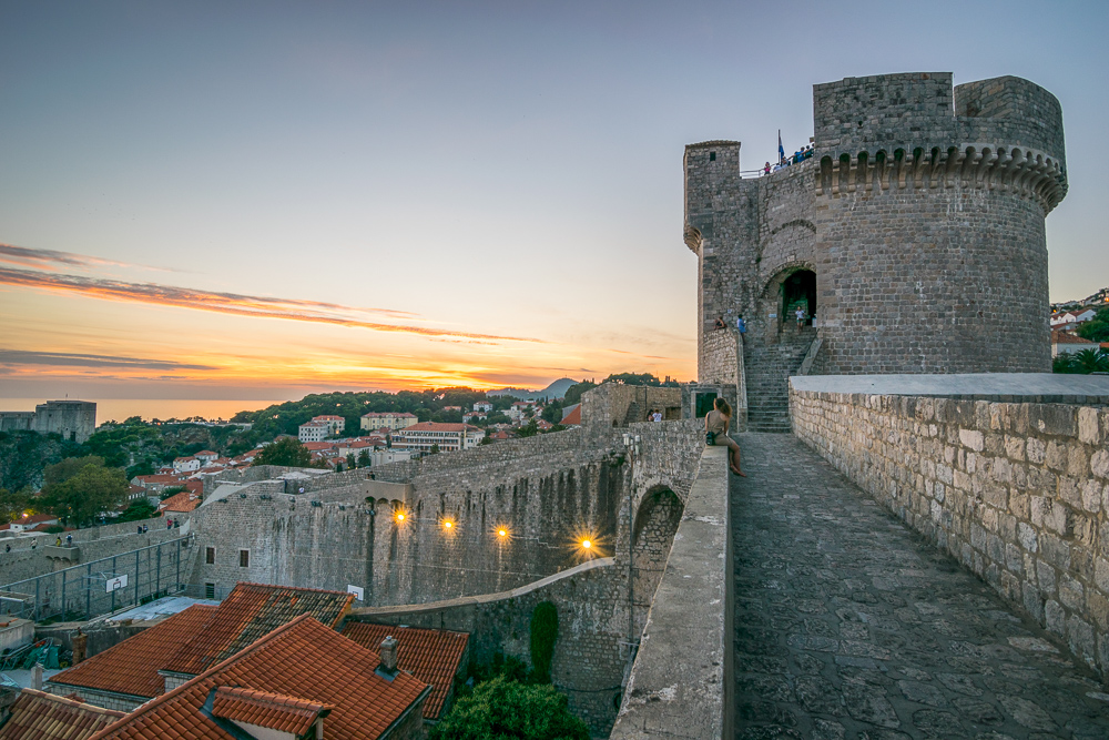 Dubrovnik Croatia Old Town Walled City at Sunset
