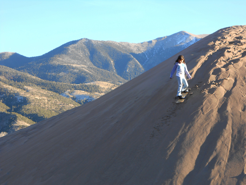 Sandboarding at the Great Sand Dunes National Park