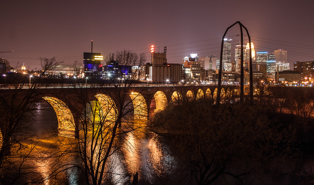 A Viewfrom the Stone Arch Bridge at night - Photo by: Tony Webster - CC
