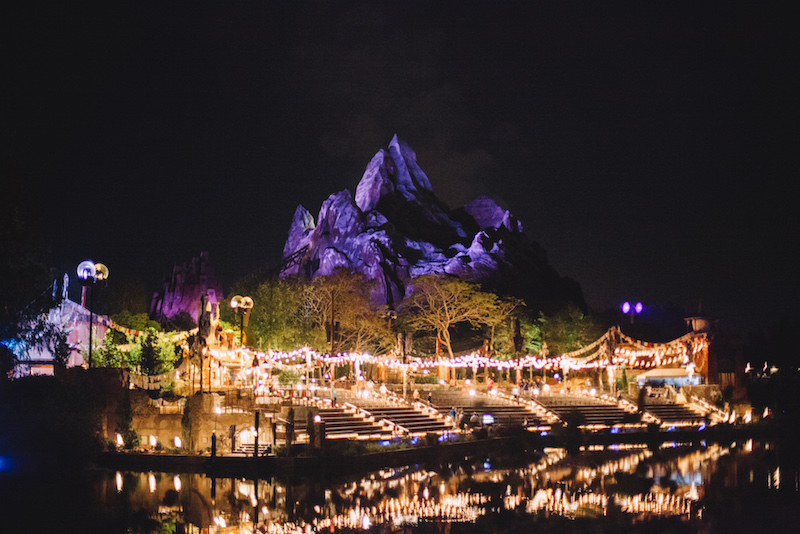 Animal Kingdom's Mt. Everest at night
