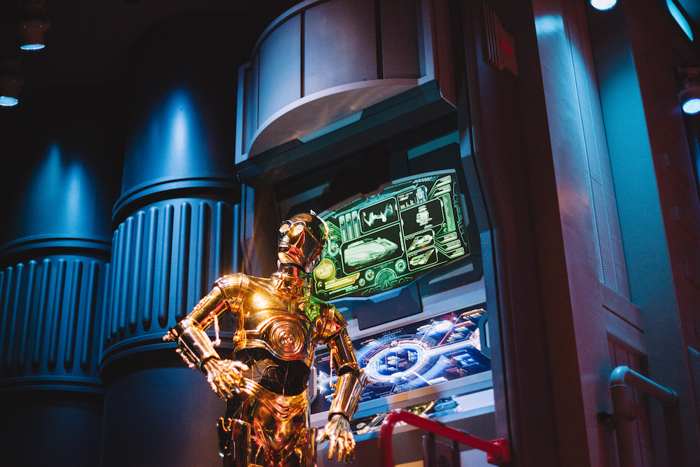 Jump through hyperspace and see different destinations in this new 3D motion-simulated ride at Disney's Hollywood Studios. Pre-boarding, you'll see familiar faces like R2-D2 and C-3PO (aka your pilot) working on a Starspeeder 1000.