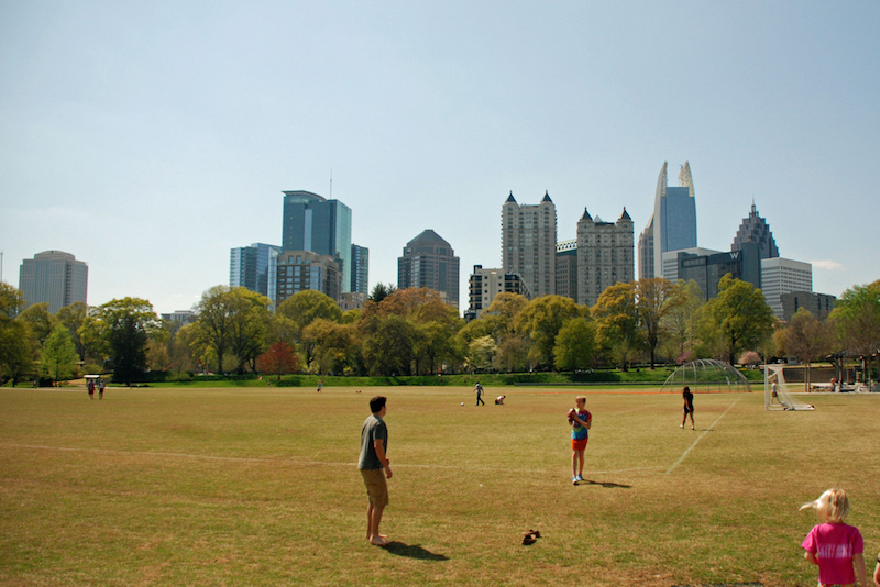 Play ball against the Atlanta skyline at Piedmont Park