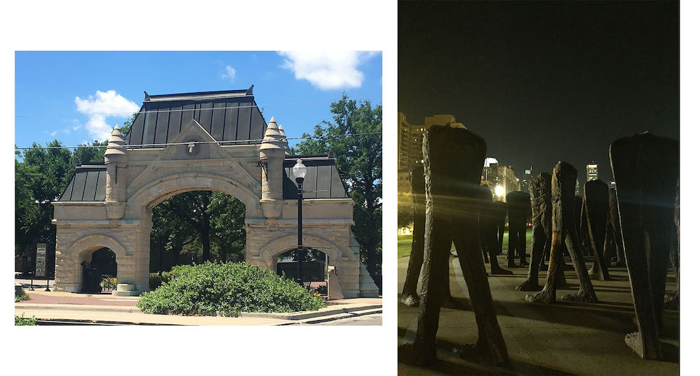 Left: The Old Union Stockyard Gate | Right: Agora Sculpture downtown