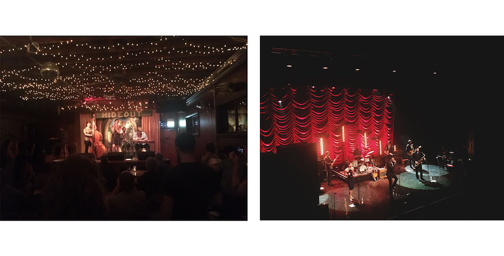 Left: Catching some tunes at the Hideout | Right: Catching some tunes at the Chicago Theatre