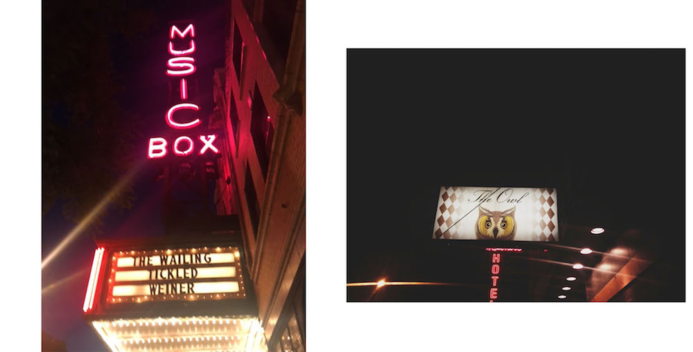 Left: Catching a movie at the Music Box Theatre | Right: Dancing the night away at The Owl