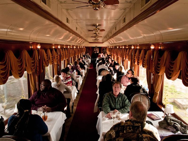 The restaurant car in the wine train in Napa