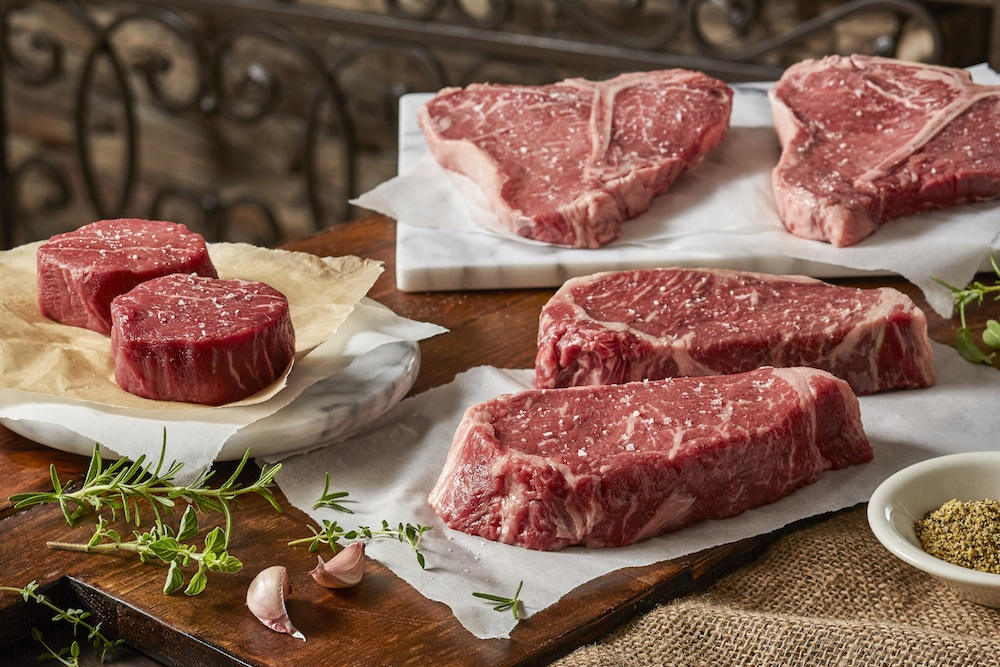 The best seller is the Texas Triple Play: two 6-ounce filets, two 20-ounce T-bones and two 16-ounce New York strips. Credit Taste of Texas.