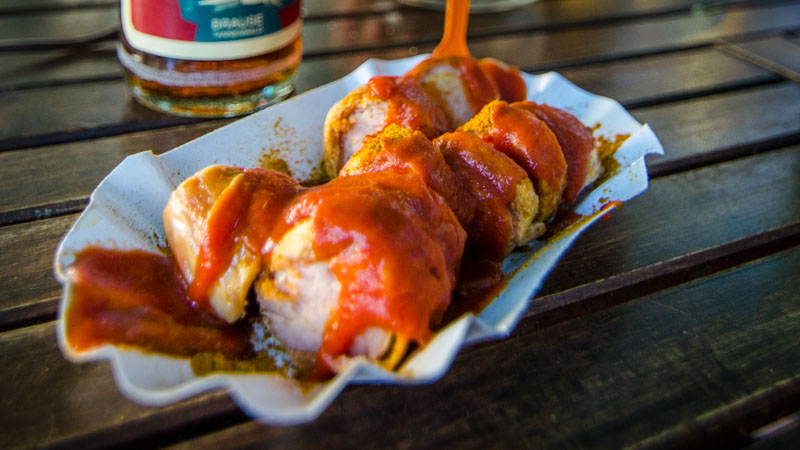 After a few rounds of German lagers you'll be looking for a savory currywurst - Photo by GettingStamped.com
