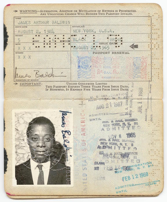 A United States passport (.1) issued to James Arthur Baldwin on August 2, 1965.