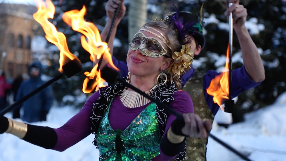 Worried about being cold during Breck's outdoor Mardis Gras festivities? Don't be. Credit Jessie Unruh/Breckenridge Tourism Office.
