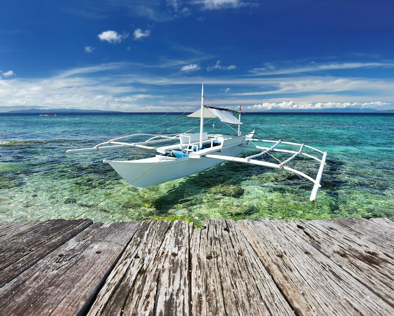 Boat docked at Balicasag Island, Philippines