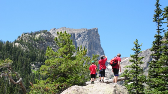 Kids Hiking in Rocky Mtns National Park, Colorado