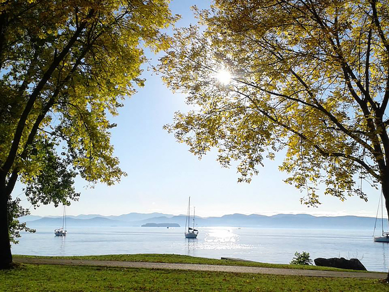 Boats on Lake Champlain in Autumn - Vermont