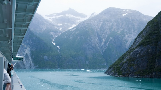 Near vertical mountain slopes carved by glaciers. The cold blue green waters of Tracy Arm Fjord in Alaska as viewed from a cruise ship.