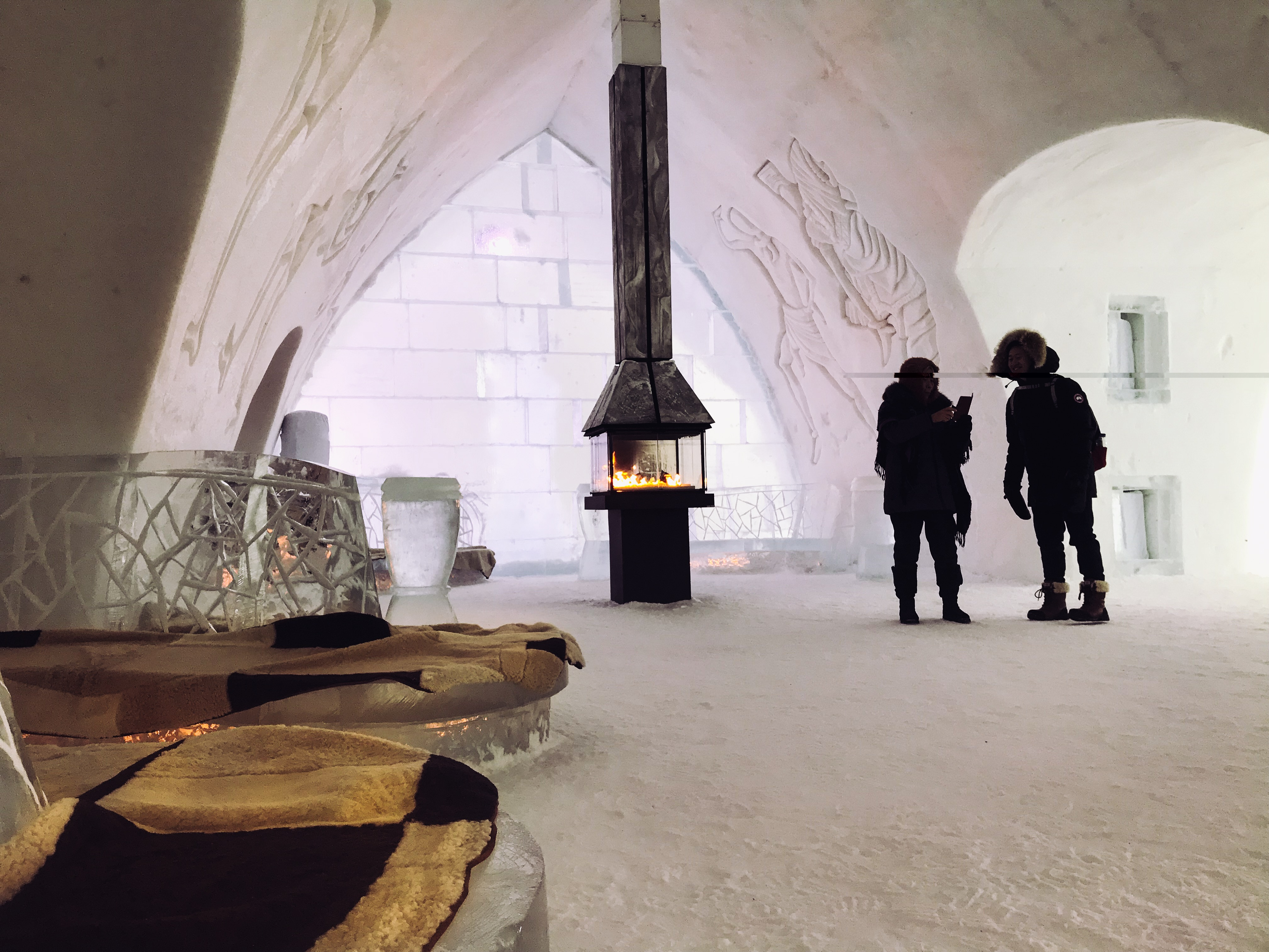 Bar lounge at the Quebec Ice Hotel
