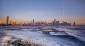 A cold winter morning overlooking the skyline of Chicago