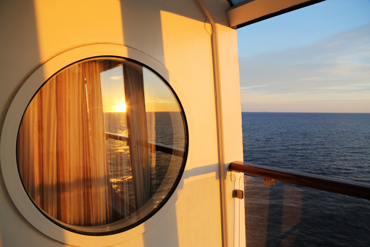 Sunrise Reflected on Cruise Cabin Window
