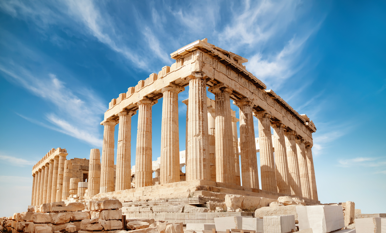 Parthenon temple on a bright day. Acropolis in Athens, Greece, on a bright day