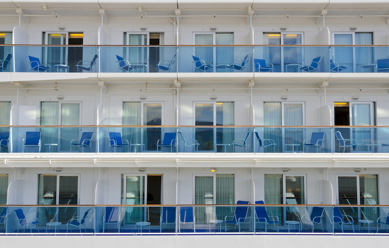 Close up of cruise ship balconies