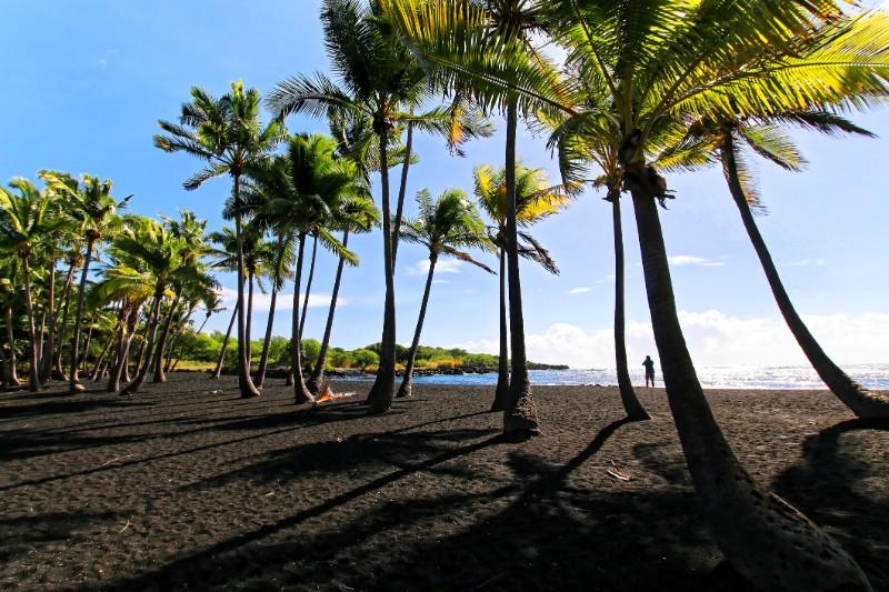 hawaii, black sand beach